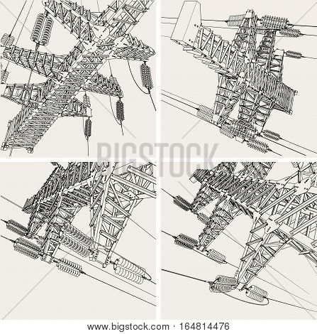 Power Transmission Line, vector illustration. Isolated background