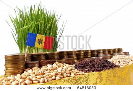 Moldova Flag Waving With Stack Of Money Coins And Piles Of Wheat And Rice Seeds