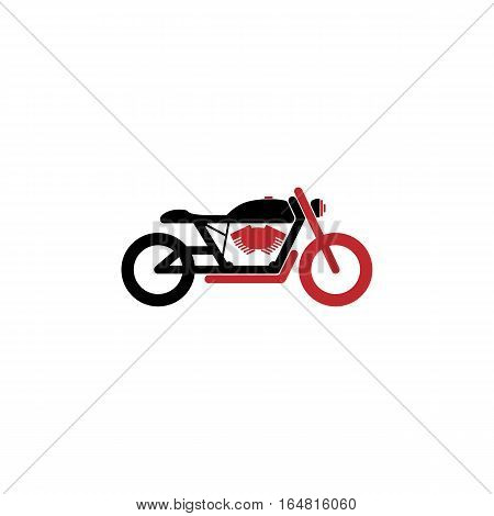 Simple motorcycle in black and red color