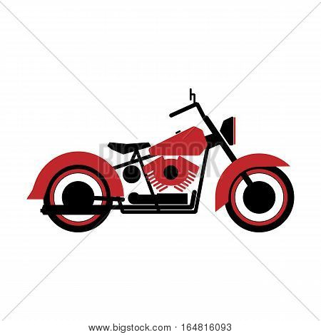 Simple logo motorcycle in black and red on a white background