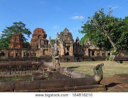 Prasat Hin Muang Tam, the impressive Ancient Hindu temple under the blue sky, Buriram, Thailand