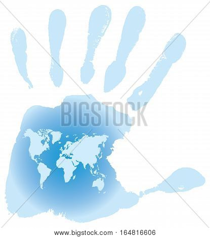 Handprint with six toes, map of the World, vector