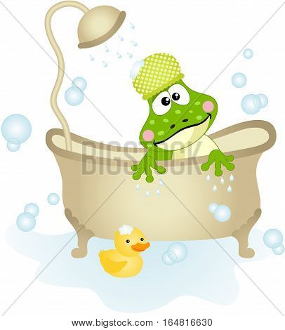 Scalable vectorial image representing a cute frog taking a bath, isolated on white.