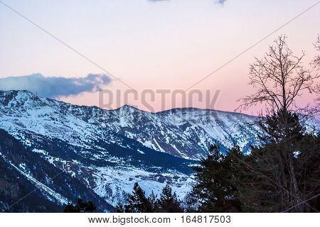beautiful view of the mountain gorge, evening sky, decline, зимнмй landscape, nature of the North Caucasus, Ossetia