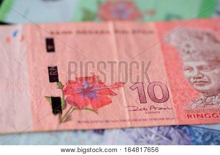 Banknote Of Ten Malaysian Ringgits Close Up