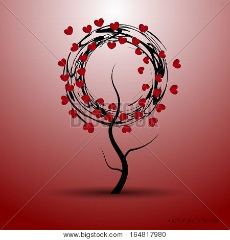 Vector illustration of a love tree with abstract circles and red hearts. Valentines Day and other occasions.