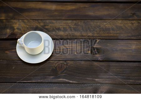 Empty White Coffee Cup And Saucer