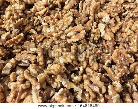 Close up of ripe peeled and dried walnut kernels ready to eat.