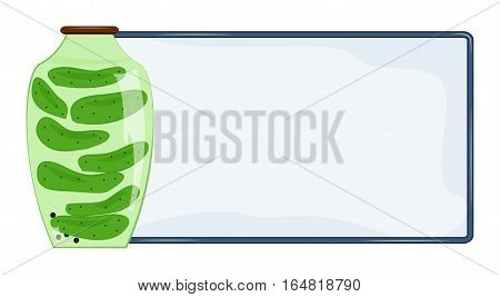 Banner for text and jar of pickled cucumbers. Vector illustration