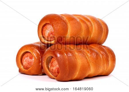Sausage rolls isolated over clear white background