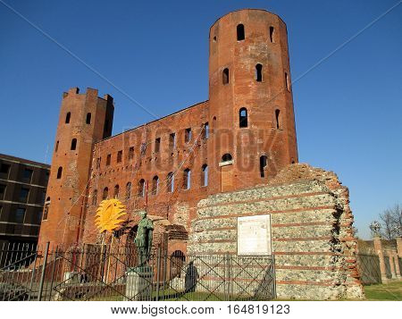Porta Palatina or the Palatine Gate, the ancient Roman Gate in Turin of Italy