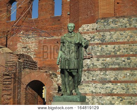 Bronze Statue of the Ancient Roman Emperor Augustus at the Palatine Gate, Turin, Italy