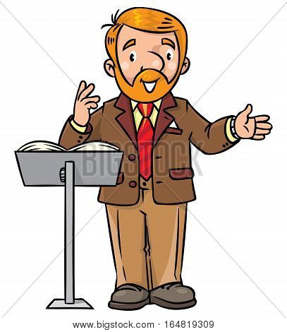Childrens vector illustration of funny university lecturer or teacher. A man with a beard is giving a lecture or lesson or tells something near a stand for book. Profession series.