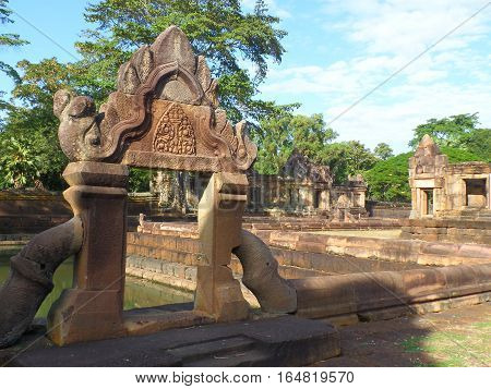Beautiful Ancient Arch of the Pond in Prasat Hin Muang Tam Temple Complex, Buriram Province, Thailand