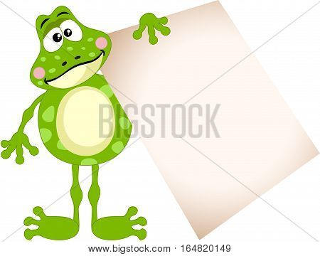 Scalable vectorial image representing a cute frog holding a blank sign, isolated on white.
