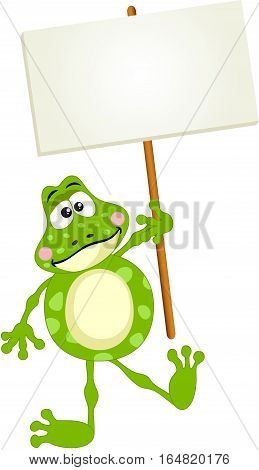 Scalable vectorial image representing a cute frog holding blank signboard, isolated on white.