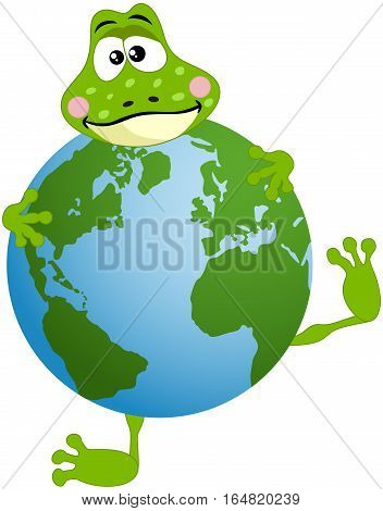 Scalable vectorial image representing a cute frog with globe, isolated on white.