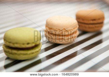 Macaroons Close Up On A Pink Background, Selection Of Macaroons