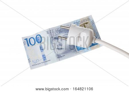 One white power plug on a Swedish one hundred krona banknote.