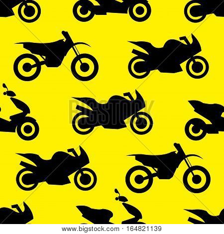 Motorcycle seamless pattern. Vector illustration for bike transport design. Bright vehicle, motorbike, scooter, chopper pattern. Bike wallpaper background. Cartoon silhouette shape.