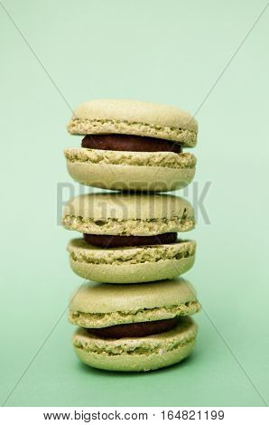 Macaroons Close Up On A Green Background, Pistachio Macaroons