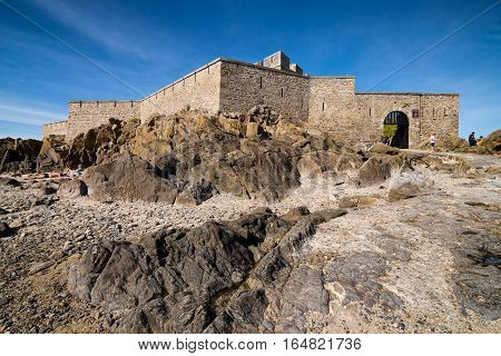 Stone fort national and rocks in Saint-Malo, Bretagne France