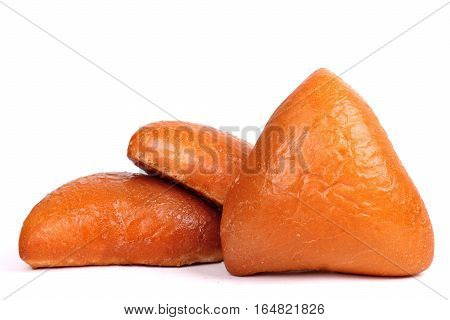 Triangle pirozhki isolated over clear white background