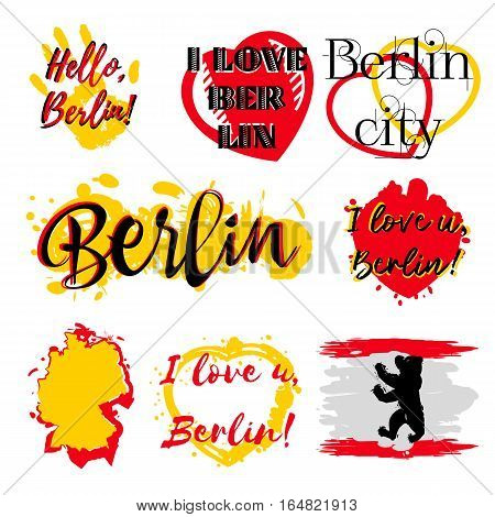 Set of stickers with lettering about Berlin and paint splashes in yellow red colors on white. Collection of souvenir prints for fabric textiles clothing shirts. Vector illustration