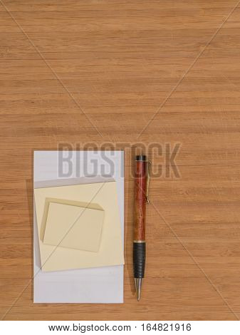 Bamboo Desk White Pad Ballpoint Pen Sticky Notes Copy Space