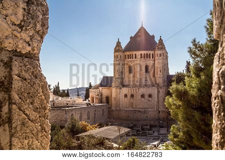 View of Dormition Abbey outside the walls of the Old City of Jerusalem, Israel