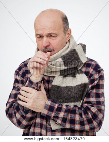 Elderly Man Is Ill From Colds Or Pneumonia. Suffering From Flu Virus.