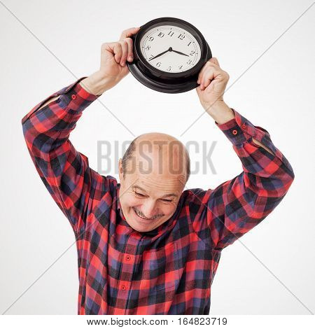Man breaks the clock in panic because of the deadline