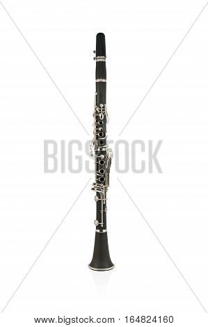 Black beautiful flute in the vertical position isolated on a white background
