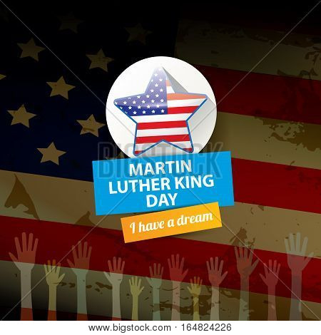 vector Martin Luther King Jr day us sticker or label. MLK day background