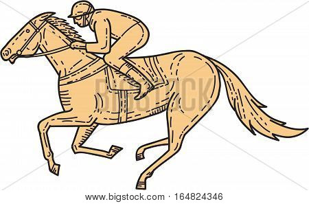 Mono line style illustration of horse and jockey racing viewed from the side set on isolated white background.