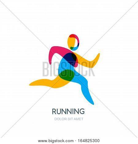 Vector Running Human Logo, Emblem, Icon Or Label Isolated Design Element. Sport Man Overlapping Illu