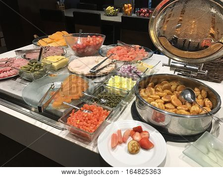 Breakfast buffet at a hotel club lounge.