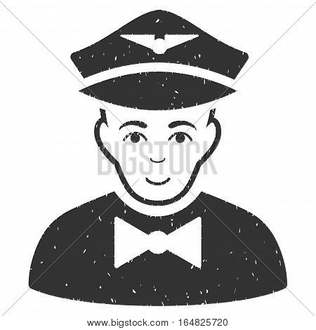 Airline Steward grainy textured icon for overlay watermark stamps. Flat symbol with dust texture. Dotted vector gray ink rubber seal stamp with grunge design on a white background.