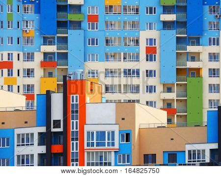 NIZHNY NOVGOROD RUSSIA - JUNE 2016 Constructed the new multi colored houses on the street Volga embankment. The construction of a new neighborhood
