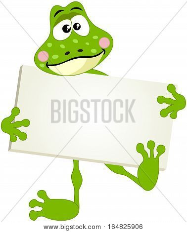 Scalable vectorial image representing a cute frog with signboard, isolated on white.