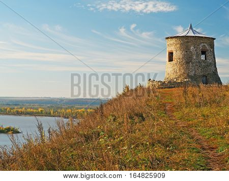 ELABUGA REPUBLIC OF TATARSTAN RUSSIA - 20 SEPTEMBER 2015 Devil's mound the remains of a fortified settlement on the banks of the Kama River the Bulgarian period 10-14 century. A view of the river and steppe