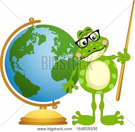 Scalable vectorial image representing a frog teacher with globe, isolated on white.