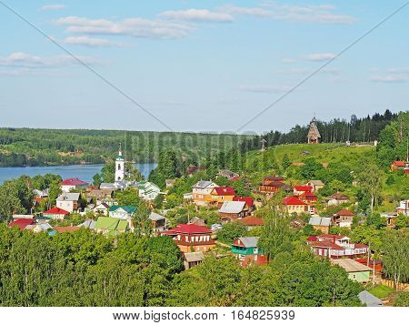 PLES IVANOVO REGION RUSSIA - JUNE 2016: View from Cathedral Mountain on a cute country town. One of the most famous small towns on the Volga River a favorite vacation spot of people artistic environment of XIX century