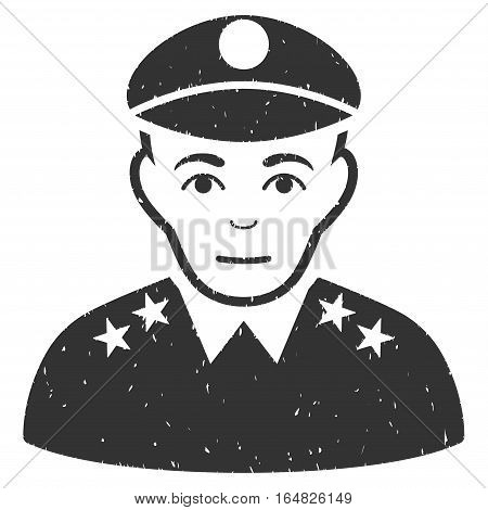 Army General grainy textured icon for overlay watermark stamps. Flat symbol with dirty texture. Dotted vector gray ink rubber seal stamp with grunge design on a white background.