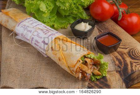 Grilled meat and vegetables tavuk döner ızgara