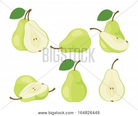 Pears. Cut green pear fruits. Collection of vector illustrations.