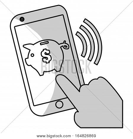 smartphone device with piggy moneybox icon on screen over white background. vector illustration