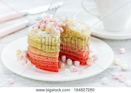 Marshmallow pancakes - delicious romantic dessert or breakfast