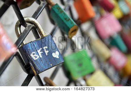 Best Friend Forever Padlocks Locked On Iron Chain