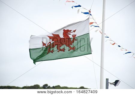 Welsh Flag, flag of wales on a white mast blowing in the wind over cloudy sky with bunting and horizon. Y Ddraig Goch